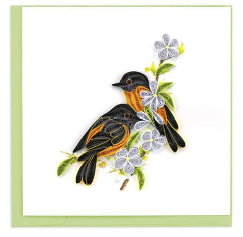 Baltimore Oriole greeting card by Quilling Card. Certified Fair Trade art cards handcrafted in Vietnam.