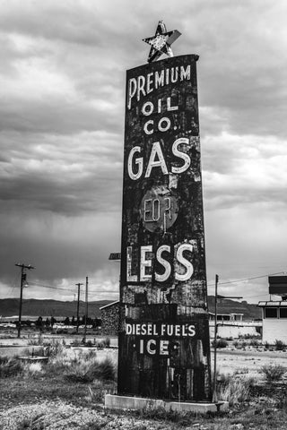 Old gas station sign in Utah black & white photograph by Barry Kluczyk