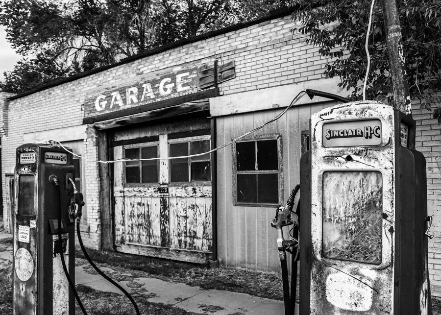 Old gas station black & white photograph by Barry Kluczyk