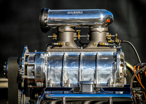 Vintage drag racing engine photography by Barry Kluczyk