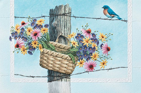 An embossed birthday card by Pumpernickel Press cards made in the USA using agricultural-based inks. Artwork by Richard Cowdrey featuring a male Eastern Bluebird.