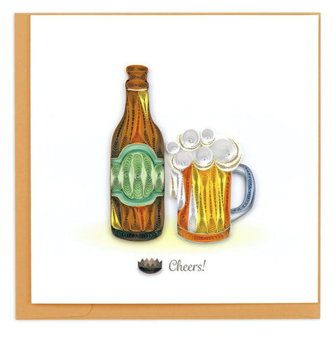 "Beer Cheers! greeting card by Quilling Card. Certified Fair Trade art cards handcrafted in Vietnam. 6"" x 6"""