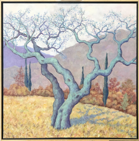 "Blue Tuscan Oak by Maeve Croghan. Oil on canvas. 30"" x 30"" Natural maple float frame with black interior."