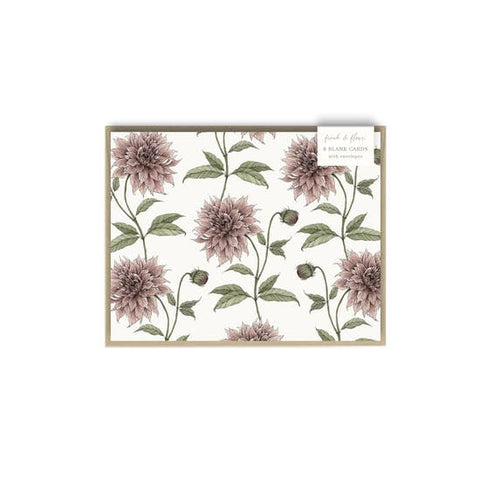 Mauve Dahlia Pattern - Boxed Card Set of 8