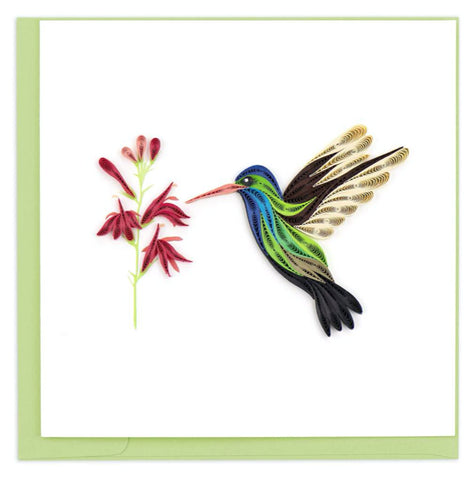 Broad-billed Hummingbird greeting card by Quilling Card. Certified Fair Trade art cards handcrafted in Vietnam.