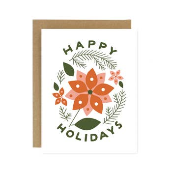 Happy Holidays Poinsettia Card
