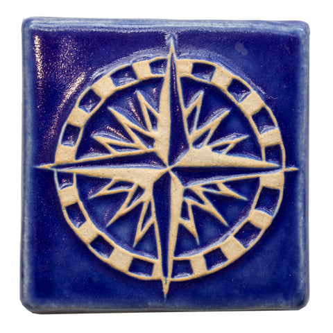 4x4 Compass Rose - Lake Michigan Blue decorative tile by Little Traverse Tileworks.