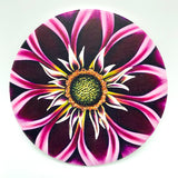 "4"" round absorbent stone coaster featuring a pink flower art by Michigan artist Denise Cassidy Wood."