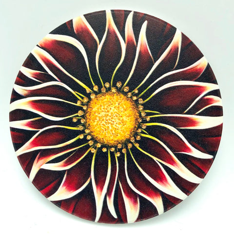 "4"" round absorbent stone coaster featuring a red flower art by Michigan artist Denise Cassidy Wood."