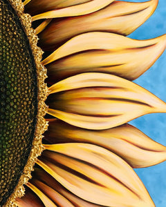 Summer Sunflower painting by Denise Cassidy Wood hangs vertically or horitzontally.