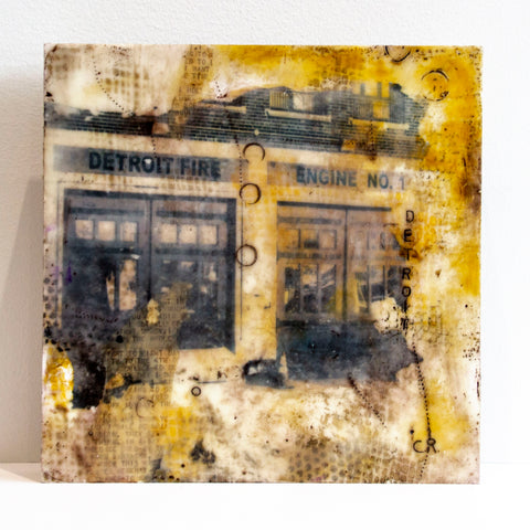 Detroit Fire Engine – original encaustic mixed media art by Cindy Rashid.