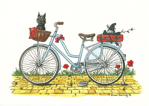 Charming, whimsical, vintage-inspired bike art  by Michigan artist Drew Deming that's ready to gift or frame!