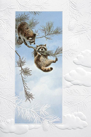 An embossed birthday card by Pumpernickel Press cards made in the USA using agricultural-based inks. Artwork by Bob Henley features two entertaining raccoons hanging from tree branches.