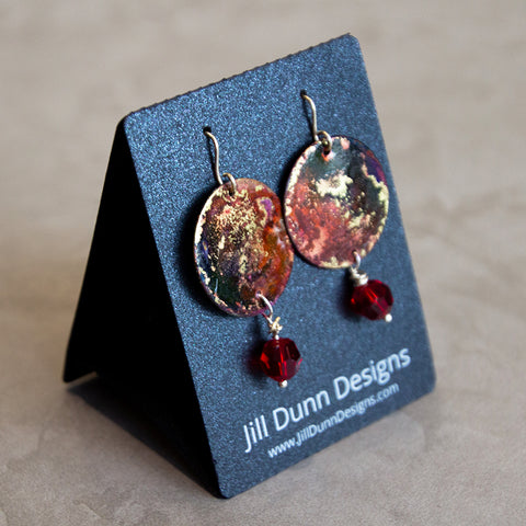 Deep Red Copper Patina with Red Swarovski Crystal Earrings
