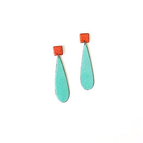 Enamel Turquoise and Red Earrings