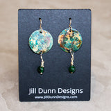 Green Copper Patina & Beads Earrings