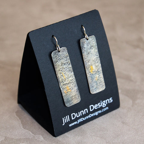 Keum Boo Silver Earrings with 23.5 Gold Foil