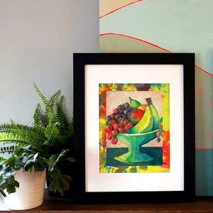 "Fresh Fruit - Little Comforts Collection, 2019 by Michigan artist Steph Joy Hogan.  Size: 10"" x 8"", Matted 11"" x 14""  Media: Acrylic, Ink. Ask about framing options."
