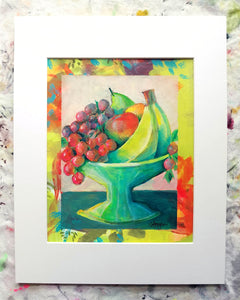 "Fresh Fruit - Little Comforts Collection, 2019 by Michigan artist Steph Joy Hogan.  Size: 10"" x 8"", Matted 11"" x 14""  Media: Acrylic, Ink"