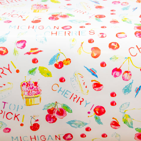 Watercolor gift wrap - cherries