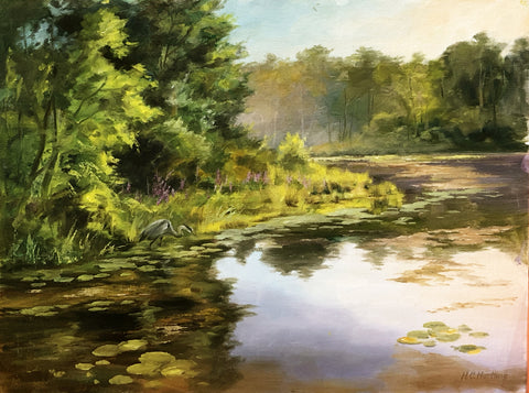 """Gone Fishing"" - Plein Air Landscape by Heiner Hertling.  Oil on board.  24"" x 18"""