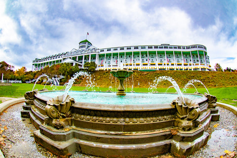 "A Grand Fountain by Jennifer Wohletz.  Photography on canvas mounted on black styrene. 10"" x 15""  Description:  Water splashes in the Grand Hotel's Tea Garden on a sunny October afternoon on Mackinac Island."