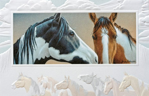 An embossed birthday card featuring a pair of horses bordered by running horses.  Artwork by Jerry Gadamus. Pumpernickel Press cards are made in the USA using agricultural-based inks.