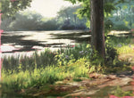Kensington Shoreline by Heiner Hertling. Oil on board.  A plein air oil painting featuring a quiet spot along the shore in Kensington, a park in Metro Detroit.