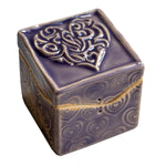 Purple Heart Itty Bitty box by Black Cat Pottery
