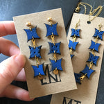 Blue Leather Boho/Hippie Earrings