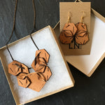 Modern Tan Leather Statement Jewelry Set