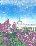 June at the Grand. 8 x 10 in.  Original multi-color linoleum block print by Michigan artist Natalia Wohletz of Peninsula Prints.  Each June, lilacs create a canopy of fragrance on Mackinac Island. This Mackinac Island art print was inspired by lovely lilacs blooming in the Tea Garden of the Grand Hotel.