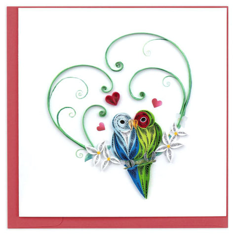 "Greeting card by Quilling Card. Certified Fair Trade art cards handcrafted in Vietnam.  6"" x 6"" Extra postage required.   Blank inside.   An ideal card for saying, ""I Love You,"" on Sweetest and Valentine's Day, plus every day in between.  Each quilled card is truly a labor of love, taking one hour to create by hand."