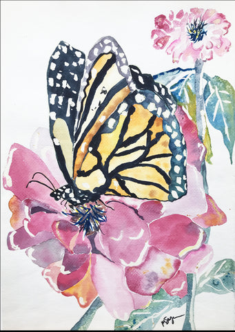 Zinnia-Loving Butterfly by Megan Swoyer.  15 1/4 x 22 1/4. Watercolor on cold press fine art paper.