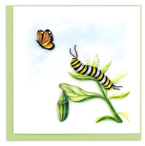 Quilled art card featuring a Monarch caterpillar and butterfly.