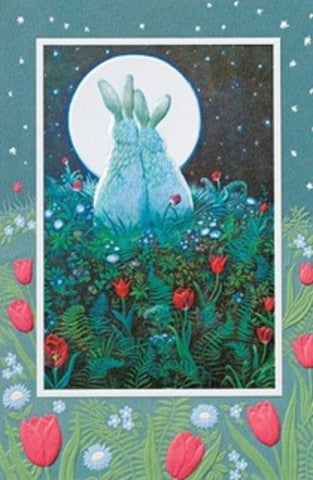 An embossed anniversary card by Pumpernickel Press.  Artwork by Richard Jesse Watson features rabbits and a full moon.  Pumpernickel Press cards made in the USA using agricultural-based inks.
