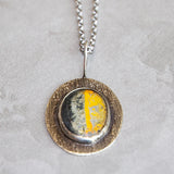 "Bumblebee Jasper on Textured Silver Pendant and 18"" Silver Chain Necklace"