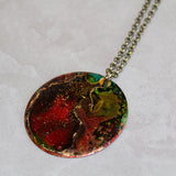 "Red Hand Colored Copper Patina Pendant with 18"" Brass Chain Necklace"