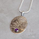 "Silver Etched Oval Pendant with 5mm Amethyst Stone and 24"" Silver Chain Necklace"