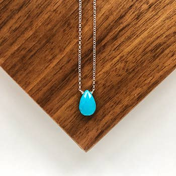 Faceted Sleeping Beauty Turquoise Teardrop Necklace (Vermeil Chain)