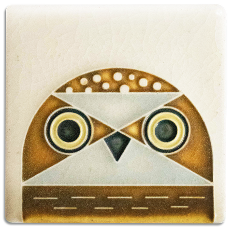 Cream Owlet 3x3 #3374 by Motawi.