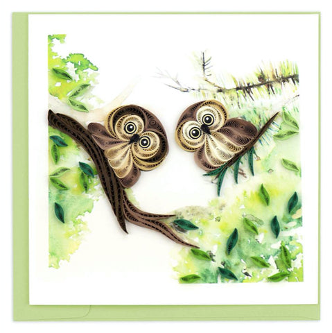 Owlets. Greeting card by Quilling Card. Certified Fair Trade art cards handcrafted in Vietnam.