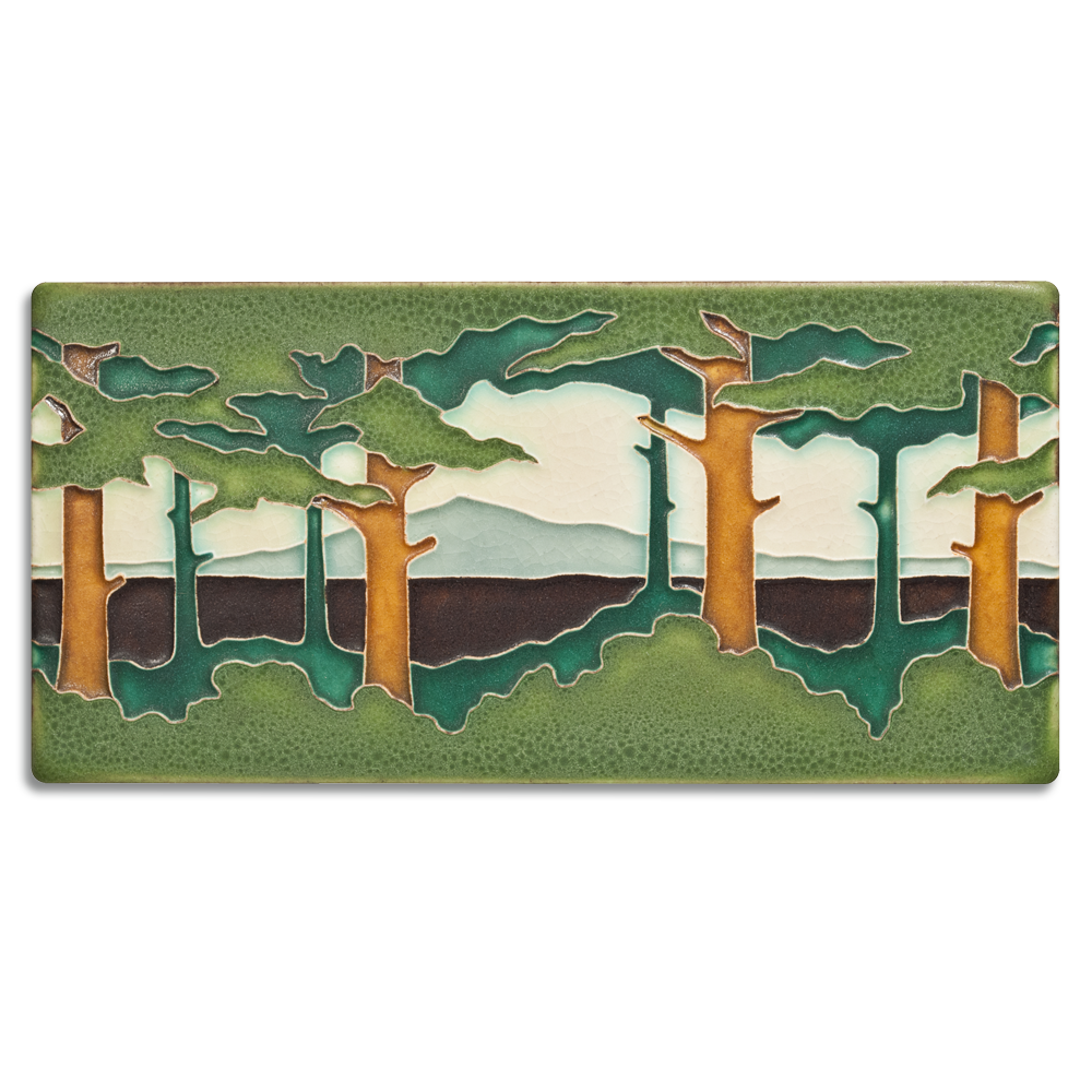 Spring Pine Landscape Horizontal 4x8 #4821 by Motawi.