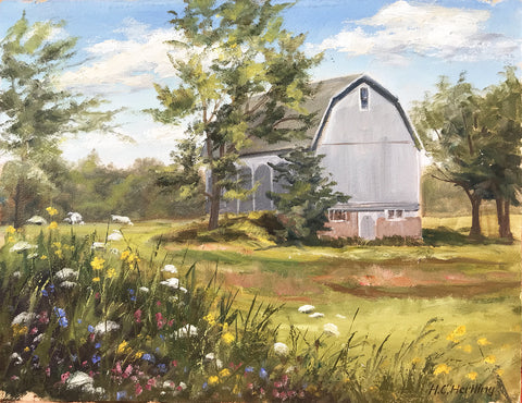"Plein Air Barn #2. Oil on board.  14"" x 11"" By Heiner Hertling."