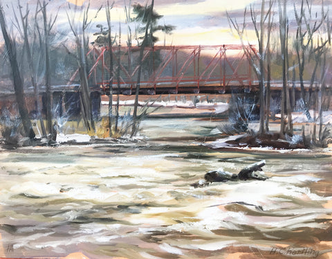 "Plein Air Bridge. Oil on board.  14"" x 11"" By Heiner Hertling."