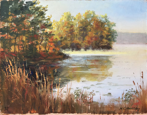 "Plein Air Lake #2. Oil on board.  14"" x 11"" By Heiner Hertling."