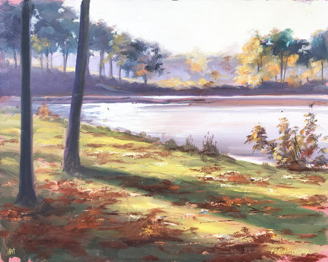 "Plein Air Lake #3. Oil on board.  14"" x 11"" By Heiner Hertling."