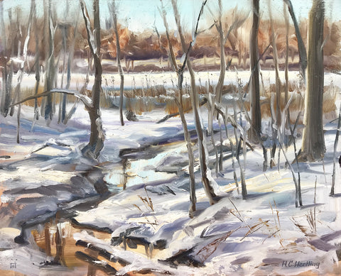 "Winter. Plein Air Oil on board.  14"" x 11"" By Heiner Hertling.Winter by Heiner Hertling. Oil on board.  14"" x 11"" A plein air oil painting featuring the banks of a stream covered in a blanket of snow."