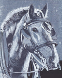 Horse in Monochrome is a linoleum block print by Natalia Wohletz of Peninsula Prints. Inspired by the hard-working horses of Mackinac Island, Michigan. Made in Michigan.