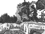 Arch Rock in Winter is a linoleum block print by Natalia Wohletz. The artwork earned an Honorable Mention Award in the 2020 Mackinac Island Contemporary Art Exhibition.